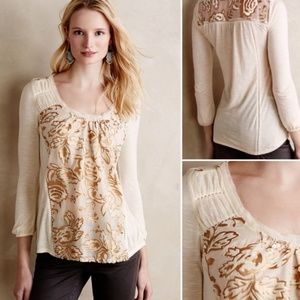 ANTHROPOLOGIE Meadow Rue Mariana Burnout Top New L